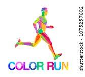 vector logo symbol runner... | Shutterstock .eps vector #1075257602
