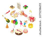 birthday party icons set.... | Shutterstock .eps vector #1075258655
