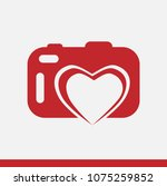 red icon of camera with heart.... | Shutterstock .eps vector #1075259852