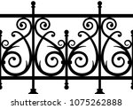 seamless wrought iron fence. | Shutterstock .eps vector #1075262888