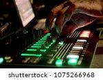 close up of dj hands mixing... | Shutterstock . vector #1075266968