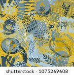 seamless pattern with hand... | Shutterstock .eps vector #1075269608