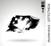 black brush stroke and texture. ... | Shutterstock .eps vector #1075279826