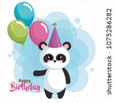 happy birthday card with bear... | Shutterstock .eps vector #1075286282