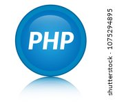 php icon isolated on blue round ... | Shutterstock .eps vector #1075294895