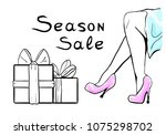 season sale  female legs in... | Shutterstock .eps vector #1075298702