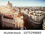 cityscape of madrid at sunset ... | Shutterstock . vector #1075298885