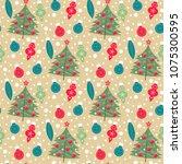 seamless christmas pattern ... | Shutterstock .eps vector #1075300595