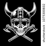 vector of vikings skull warrior ... | Shutterstock .eps vector #1075300832