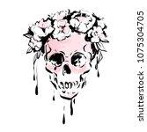 female skull with rose  peony... | Shutterstock .eps vector #1075304705