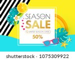 summer sale layout design... | Shutterstock .eps vector #1075309922