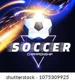 soccer ball with light effects. ... | Shutterstock .eps vector #1075309925