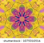 abstract kaleidoscope yellow... | Shutterstock . vector #1075310516