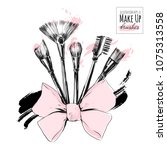 make up brushes for cosmetics... | Shutterstock .eps vector #1075313558