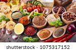 composition with assorted... | Shutterstock . vector #1075317152