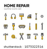 icon set of working tools for... | Shutterstock .eps vector #1075322516