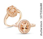 morganite ring with diamond... | Shutterstock . vector #1075336688