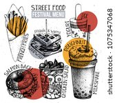 street food festival menu.... | Shutterstock .eps vector #1075347068