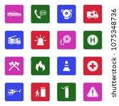 emergency icons. white flat... | Shutterstock .eps vector #1075348736