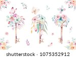 isolated cute watercolor... | Shutterstock . vector #1075352912