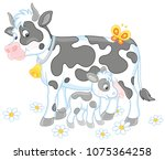 smiling spotted cow and her... | Shutterstock .eps vector #1075364258