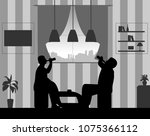 guys drink beer in leisure time ... | Shutterstock .eps vector #1075366112