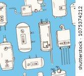 water heater  boilers hand...   Shutterstock .eps vector #1075374212
