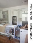 water damaged kitchen... | Shutterstock . vector #1075374362