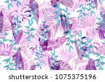 pink floral tropical foliage... | Shutterstock . vector #1075375196