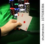 two aces. poker in the casino. | Shutterstock . vector #1075383386