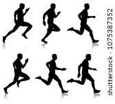 set of silhouettes. runners on... | Shutterstock .eps vector #1075387352