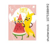 cheerful watermelon  banana... | Shutterstock .eps vector #1075388492