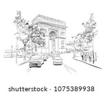 triumphal arch. paris  france.... | Shutterstock .eps vector #1075389938