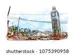 kolkata  city in west bengal.... | Shutterstock .eps vector #1075390958