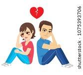 young couple sitting on floor... | Shutterstock .eps vector #1075393706