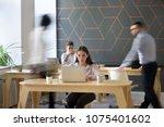 office rush concept  corporate... | Shutterstock . vector #1075401602