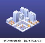 city set modern skyscraper... | Shutterstock .eps vector #1075403786