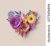 3d render  abstract floral... | Shutterstock . vector #1075406846