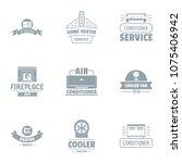 conditioner logo set. simple... | Shutterstock .eps vector #1075406942