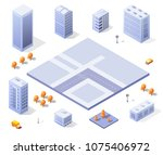 city set modern skyscraper... | Shutterstock .eps vector #1075406972