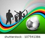 shiny soccer ball on green wave ... | Shutterstock .eps vector #107541386