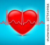 heart and blue heart rate on... | Shutterstock . vector #1075414466