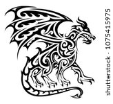 dragon tattoo in tribal art... | Shutterstock .eps vector #1075415975