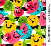 vector summer fruits patterns... | Shutterstock .eps vector #1075420022