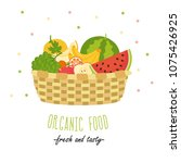 organic food. fresh and tasty.... | Shutterstock .eps vector #1075426925