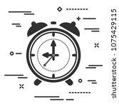 black flat alarm clock icon on...