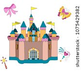 princess castle with butterfly... | Shutterstock .eps vector #1075429382