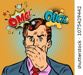 omg ouch surprised businessman. ...   Shutterstock .eps vector #1075429442