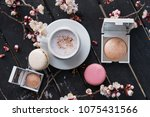 cup of hot coffee with... | Shutterstock . vector #1075431566