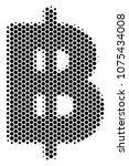 halftone hexagonal baht icon.... | Shutterstock .eps vector #1075434008